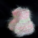 100% Angora baby booties in pink, blue, green, peach, mauve pink and natural colors
