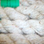 Handspun natural fawn angora beaded yarn