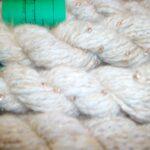 Handspun natural fawn angora beaded yarn