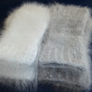 Angora fingerless mittens KIT