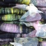 Rolag Puni - SW Merino  - spinning fiber felting black, yellow,lilac,  pink rolled up batt