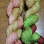 Hand dyed Stellina sock yarn, SW 75% merino/20% nylon/ 5% stellina yarn, 435 yd. 100 gr.