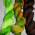 Hand dyed Stellina sock yarn, SW 75% merino/20% nylon/ 5% stellina yarn, 435 yd. 100 gr.  www.angoraonline.com