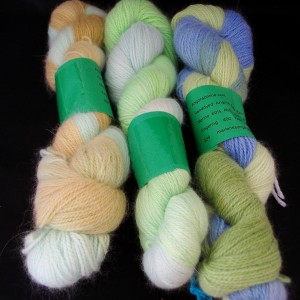 Hand dyed angora sock yarn