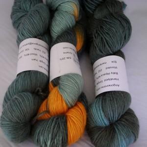 Handdyed alpaca wool silk yarn, 252 yd, single ply, worsted