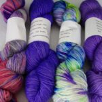 This hand dyed yarn is 40% baby alpaca, 40% wool and 20% silk,  single ply, 252 yards, 100  g., worsted  weight.  www.angoraonline.com