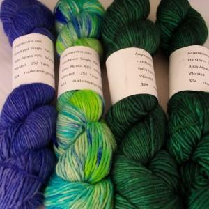 Hand dyed alpaca wool silk yarn, worsted 252 yd