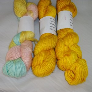 Hand dyed 40% baby alpaca, 40% wool and 20% silk