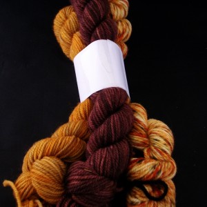 Hand dyed color coordinated yarn bundles
