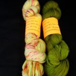 Hand dyed speckles and tonal dyed sock yarns.