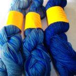 Hand dyed 80/ 20 merino/ nylon sock yarn, 400 yd