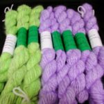 handspun and hand dyed 100% angora yarn in D.K. and worsted weight