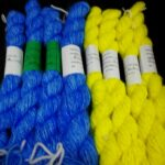 handspun and hand dyed 100% angora yarn, in light blue and sunny yellow