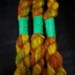 handspun hand dyed 100% angora yarn in worsted to heavy worsted weight.