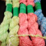 Handspun hand dyed 100% angora yarn, thick n thin yarn