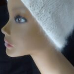 Hand made nat. white angora hat.