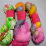 Hand dyed MCN fingering yarn, Rainbow Kettle yarn