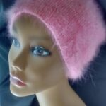 Hand knit 100% angora hat in pink