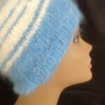 100% Angora Hat in blue and white