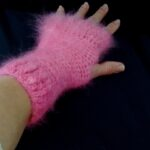 Angora Texting Gloves, in pink