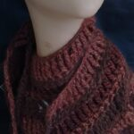 Crochet wool angora alpaca scarf collar in brown