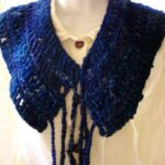 Crochet Scarf Collar in Blue