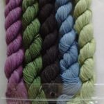 Set of 5 skeins of 90 yards each,  hand dyed merino nylon sock yarn skeins