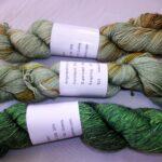 Hand dyed 70% Merino 30% Silk Yarn. 438 yd, fingering wt.  www.angoraonline.com